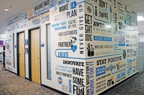 Branded spaces- word wall